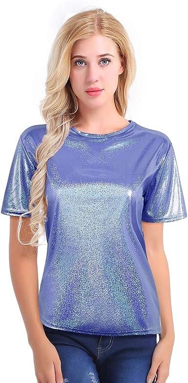 dPois Camiseta Mujer Brillante Metálico Sexy Camiseta ...