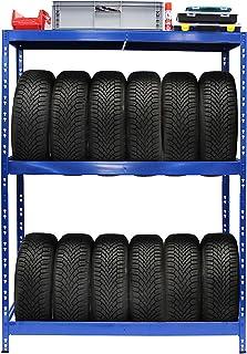 Rayonnage pour pneus | HxLxP 180 x 130 x 50 cm | Jusqu'à 12 pneus | Avec étagère - Etagère pour pneumatiques - Stockage de...