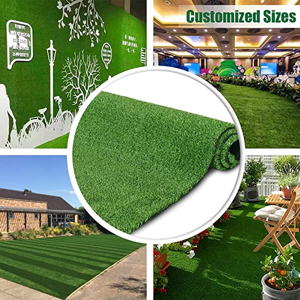 Synthetic Artificial Grass Turf 5FTX8FT Indoor Outdoor Balcony Garden Decor Drainage Holes Faux Grass Rug Carpet For Pets