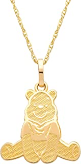 Winnie the Pooh 10KT Yellow Gold Winnie the Pooh Necklace, 18 Inch Chain; Jewelry for Women and Girls