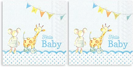 Boston International Hello Baby Giraffe Light Blue 7 x 7 Paper Disposable Lunch Napkins 7 x 7 Blue L779249