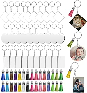 HLHXMWXY 120 Pieces Sublimation Keychain Blanks Set MDF Blank Board Key Rings Tassel Set for DIY Keychain and Craft