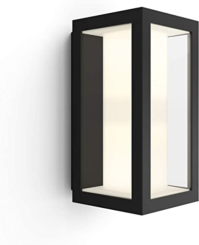 Philips Hue 915005730601 White and Colour Ambiance LED Impress Hue Wall Lantern Slim Black, Compatible with Alexa
