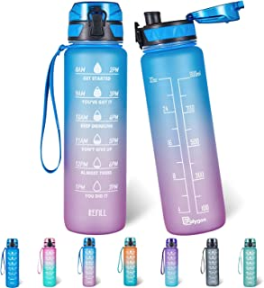 Polygon 32oz Motivational Water Bottle with Time Marker & Removable Strainer to Remind You Drink More Water, Fast Flow, Le...