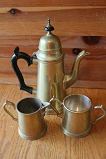 Brass Tea pot kettle Set For Vintage with cream pitcher and For sugar made in India