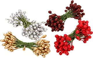 BBTO 400 Pieces Multicolor Artificial Holly Berries Christmas Fake Fruit Berries on 200 Pieces Wire Stems Christmas Tree Decorations Wreath Craft Use Wedding Party Favor