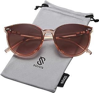 c3d2b30a13 SOJOS Gafas De Sol Para Mujer Hombre Marco Plastico Redondo Retro BLOSSOM  SJ2067