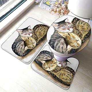 バスマット トイレマット セット 3点 タンクカバー 水彩画 猫 二匹 キュート 寝る お風呂マット 足ふきマット マイクロファイバー 浴室 大判 おしゃれ 吸水性優れ 滑り止め 快適