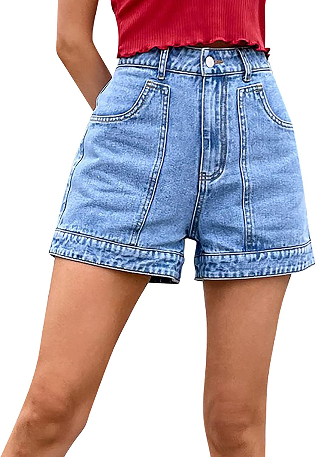 Denim Shorts for Women Fashion Mid Rise Casual Summer Stretchy Jean Women Denim Shorts with Pockets
