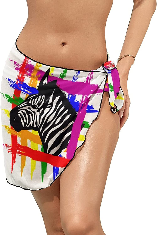 Women Beach Wrap Skirts LGBT Zebra Rainbow Personalized Bikini Swimwear Beach Cover Up