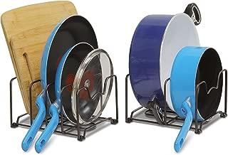SimpleHouseware 2PK Kitchen Cabinet Pan and Pot Lid Organizer Rack, Total 6 Compartments, Bronze