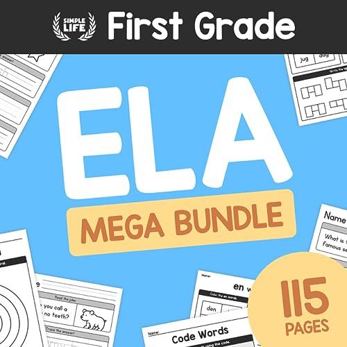 1st Grade English Worksheets MEGA BUNDLE – 115 Pages – First Grade ELA