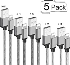 iPhone Charger,Lanxks iPhone Charger Cable 3/3/6/6/10FT 5Pack Nylon Braided USB Charging Cable High Speed Data Sync Transf...