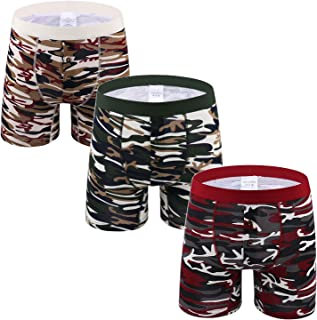 cool nik Men's Classic Comfortable Breathable Lingerie Natural Cotton Stretch Boxer Briefs Underwear Trunk