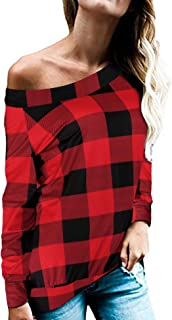 Romanstii Off Shoulder Tops for Women Sexy Long Sleeve Choker Neck T Shirts S-XXL