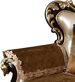 Sideli Luxury Velvet Jacquard Armrest Cover for Chair Couch Sofa Anti-Slip Furniture Protector(2pc-20x24-sofa arm Cover,Khaki)