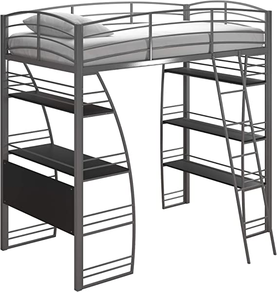 DHP Studio Loft Bunk Bed Over Desk And Bookcase With Metal Frame Gray Twin