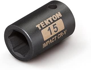 TEKTON 47770 1/2-Inch Drive by 15 mm Shallow Impact Socket, Cr-V, 6-Point