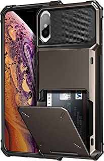 SAMONPOW Credit Card Holder Case for iPhone X iPhone Xs Case with 4 Card Holder Hard PC Soft Hybrid Rubber Anti Scratch Shockproof Heavy Duty Cover for iPhone X XS iPhone10 5.8 inch Gun Color