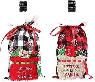 Weinflaschenhülle mit Weihnachtsmotiv, kariert, 2 Stück