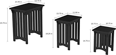 Home Lavish Nesting Set of 3, Traditional with Mission Style Legs for Living Room Coffee Tables or Nightstands Accent Furniture (Black)