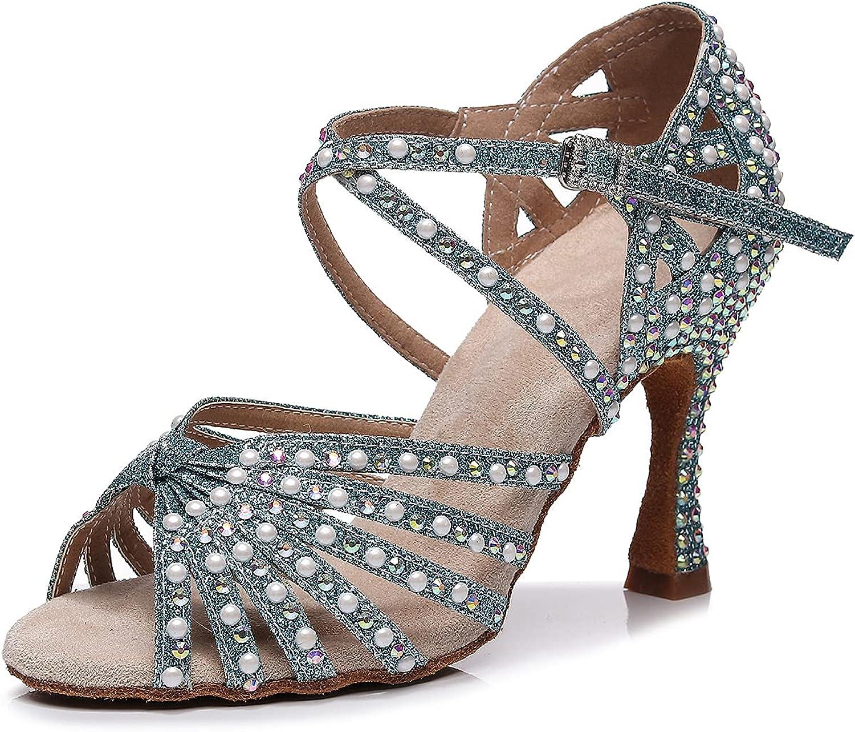 Goettin Latin Dance Shoes Salsa Wedding High Heel Shoes 3.35 inch Suede Sole Rhinestone Pumps Pearl Decoration for Women