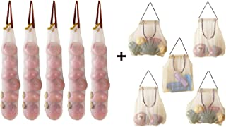 Hanging Mesh Storage Bags For Potatoes,Onions,Garlics,Vegetables Wide and Large Reusable Net Storage Tote Bags for Fruit Veggies Green Pepper or Garbage Bag By AHYUAN (10)