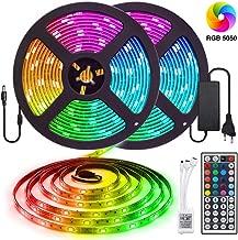 Tira de LED RGB 10M 5050300 LED, IP65 Tiras de luces LED multicolores a prueba de agua Kit completo para el hogar, restaurante, cocina, porche, oficina, dormitorio