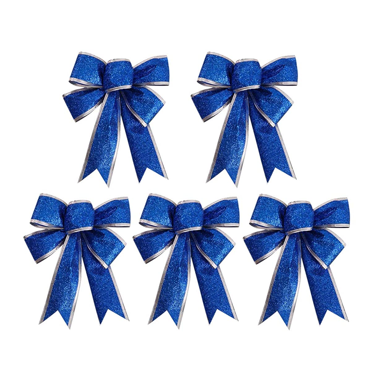 SUPVOX 5pcs/Pack Large Christmas Bow Glitter Glittering FabricGold Gift Ribbon Tree Decorations Presents Kids (Blue)
