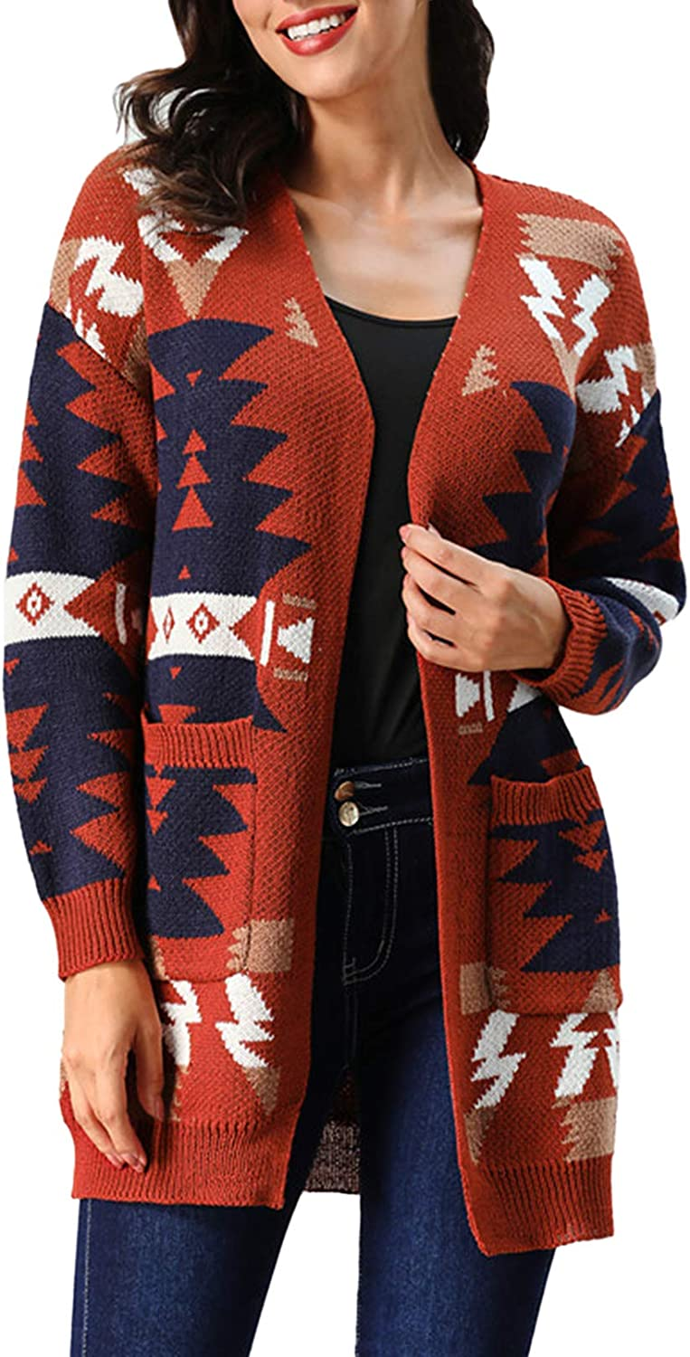 TOLENY Women's Loose Aztec Sweater Cardigan Open Front Knitted Jacket Coat with Pockets
