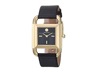 Tory Burch Phipps Leather Watch (Black TBW7202) Watches