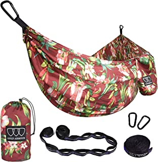 Gold Armour Camping Hammock - XL Double Parachute Hammock (2 Tree Straps 16 LOOPS/10 FT Included) USA Brand Lightweight Nylon Mens Womens Kids, Best Camping Accessories Gear