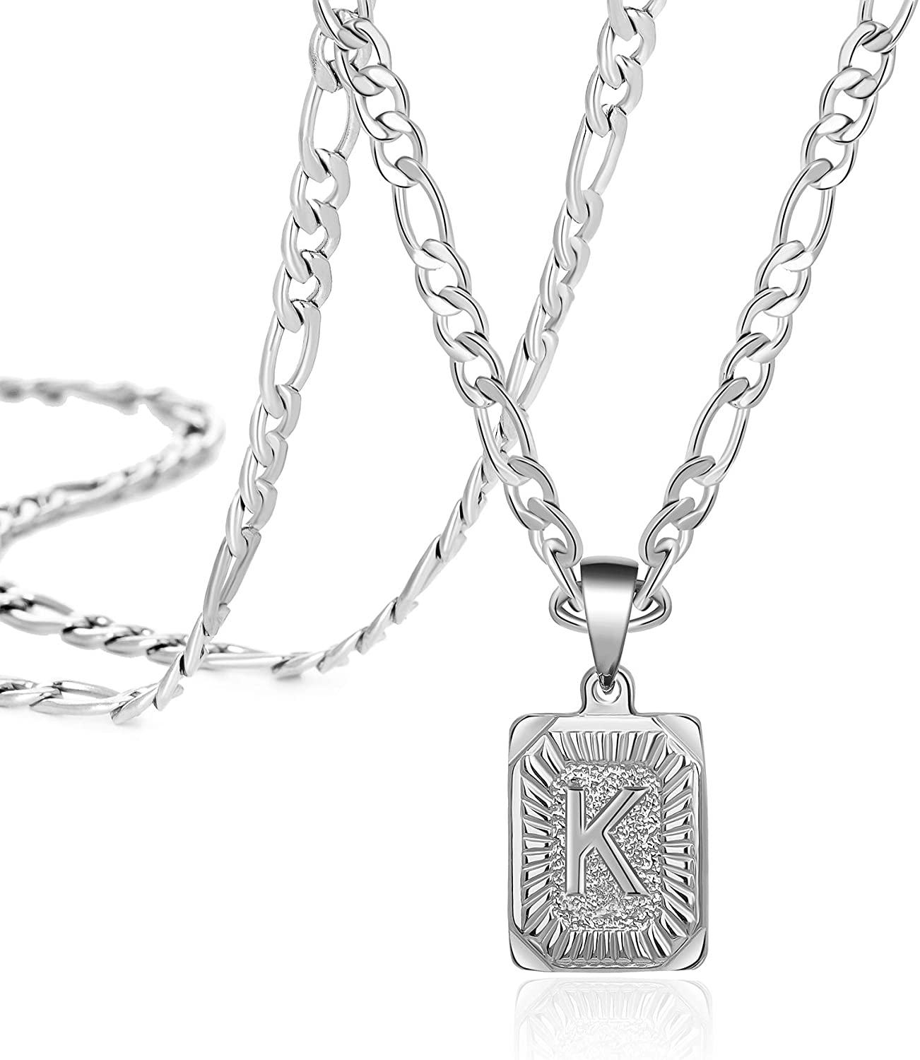 Stainless Steel Initial Letter Pendant Necklace Personalized 26 Alhpabets Jewelry for Women Men Teenage Sister Mom Daughter Best Friend Bridesmaid Brother Rectangle Stainless Steel Figaro Chain