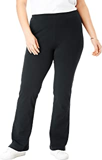 Woman Within Women's Plus Size Tall Stretch Cotton Bootcut Yoga Pant