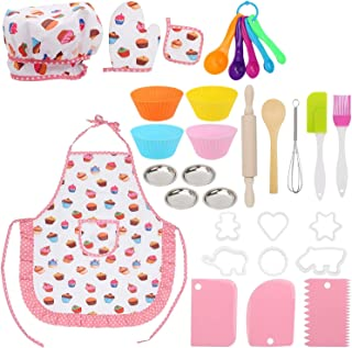 مجموعة ادوات الطبخ والخبز من 31 قطعة للاطفال، زي الشيف للاطفال يلعب مجموعة خبز الطهي، مجموعة ادوات الطبخ والكب كيك للفتيا...