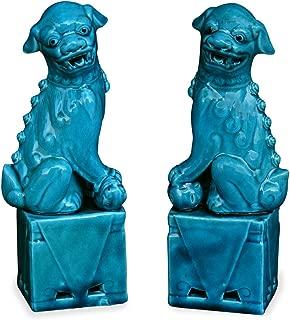 ChinaFurnitureOnline Porcelain Foo Dogs Statues, Sitting Guarding Lions Sculptures Blue Glaze Set of 2