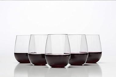 Stemless Wine Glasses - Unbreakable Shatterproof BPA Free Plastic Tritan (Set of 8) 16oz - Dishwasher Safe