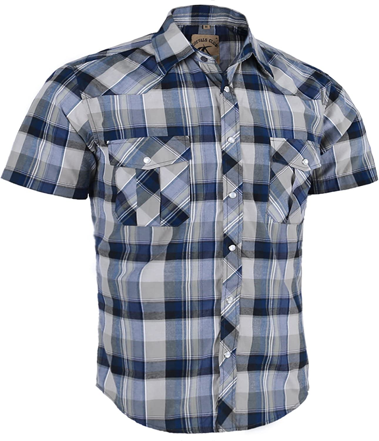 Coevals Club Men's Casual Plaid Pearl Button Snap Front Short Sleeve Shirt Regular Fit (Gray/Blue #13, M)