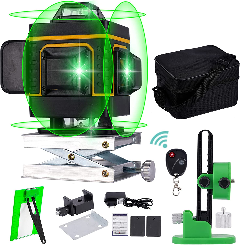Nivel láser de línea verde cruzada 4d 16 líneas 360° de alta precisión Nivelación automática Base de elevación de instrumentos Interior y exterior Soporte magnético de pared Juego de 13 piezas