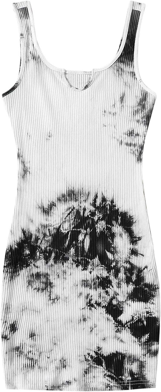 MakeMeChic Women's Plus Size Tie Dye Notch Neck Bodycon Pencil Tank Dress