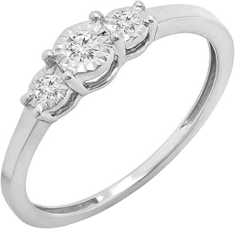 Dazzlingrock Collection 0.20 Carat (ctw) Round White Diamond Ladies 3 Stone Engagement Promise Ring 1/5 CT, 10K Gold