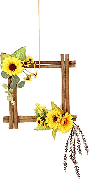 FLCSIed Artificial Flower Fall Wreath Wooden Star Square For Flower Arrangement With LED Lights Wreath Macrame Wall Haning Wedding Door Thanksgiving Decor Wreath Sunflowers Maple Leaves Square