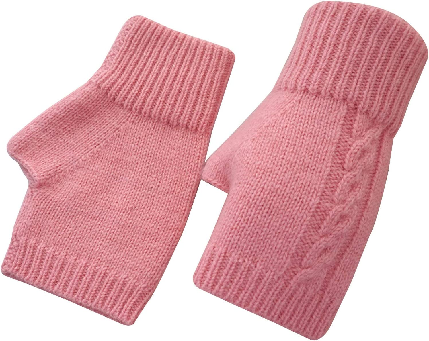 FOLDING Gloves Fingerless Knitted Gloves Women Winter Touch Screen Fashion Solid Color Crochet Knitting (Color : Pink)