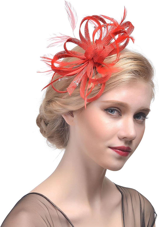 TS Women's Kentucky Derby Hat Floral Feather Fascinator Headband