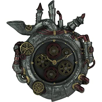 Veronese Design Magnum Opus Steampunk Style Wall Clock with Moving Gears