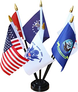 Anley USA Armed Service Desk Flags Set - 6 X 4 inches Miniature American Military Sectors Desktop Flag with 11
