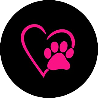 TIRE COVER CENTRAL Love Paws Pink Heart Spare Tire Cover 255/75r17 fits Camper, Jeep, rv, Trailer, etc
