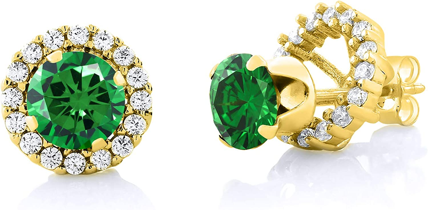 Gem Stone King Max 48% OFF 3.00 Ct Indianapolis Mall Round Gold 18K 6mm Yellow Zirconia Green