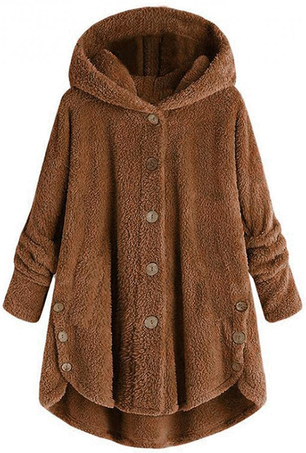Womens Parka With Faux Fur Plus Size Button Plush Tops Hooded Loose Cardigan Wool Coat Winter Thicken Windproof Jacket