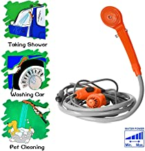 Portable Shower Water Pump for Outdoor Camping Backpacking Hiking Travel Beach Dog Flowering Plants Orange